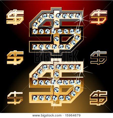 Vector illustration of boldest golden letters with shining diamonds. Dollar symbol