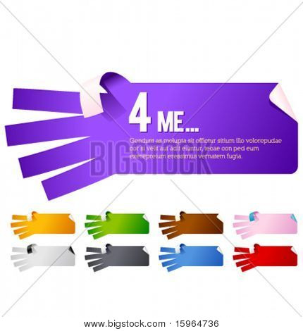 Vector sticker in the form of hands. Multicolor set.