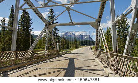 Bridge over the river in Canadian Rockies