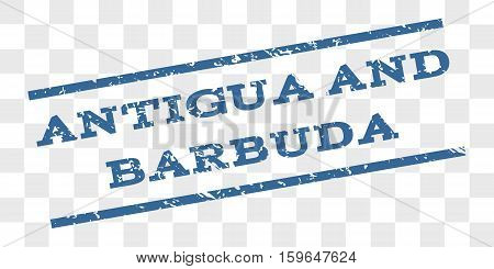 Antigua and Barbuda watermark stamp. Text caption between parallel lines with grunge design style. Rubber seal stamp with scratched texture.