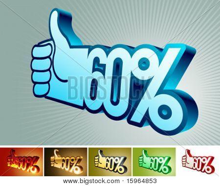 Symbol of discount or bonus on stylized hand