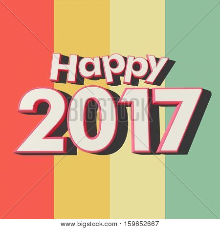 3D rendering of red rimmed white 3D letters on a multicolored striped background with the message Happy 2017