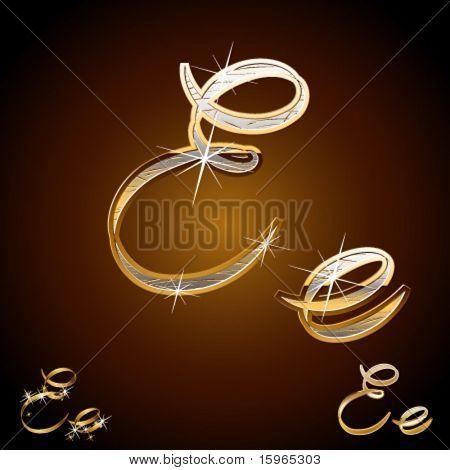 Luxus Originalschrift. Zeichen e