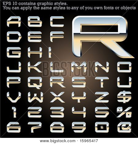 Chrome typeface. Sky reflected. File contains graphic styles available in the Illustrator 10 + You can apply the styles to any of you own fonts or objects