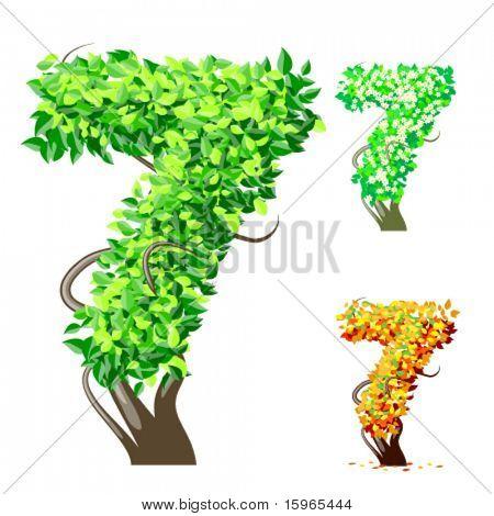 Vektor-Illustration eine zusätzliche detaillierte Baum Alphabet Symbole. Leicht abnehmbare Krone. Zeichen 7
