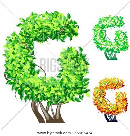Vektor-Illustration eine zusätzliche detaillierte Baum Alphabet Symbole. Leicht abnehmbare Krone. Zeichen g