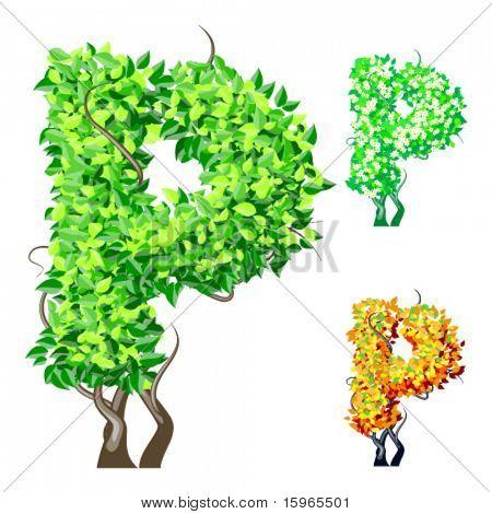 Vektor-Illustration eine zusätzliche detaillierte Baum Alphabet Symbole. Leicht abnehmbare Krone. Zeichen p