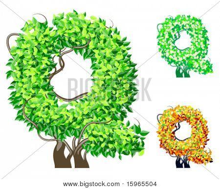 Vektor-Illustration eine zusätzliche detaillierte Baum Alphabet Symbole. Leicht abnehmbare Krone. Zeichen q