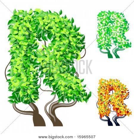 Vektor-Illustration eine zusätzliche detaillierte Baum Alphabet Symbole. Leicht abnehmbare Krone. Zeichen r