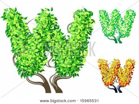 Vector illustration of an extra detailed tree alphabet symbols. Easy detachable crown. character w