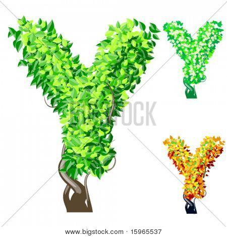 Vektor-Illustration eine zusätzliche detaillierte Baum Alphabet Symbole. Leicht abnehmbare Krone. Zeichen y