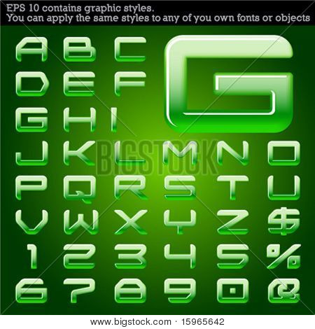 Convex typeface. Green. File contains graphic styles available in the Illustrator 10 + You can apply the styles to any of you own fonts or objects