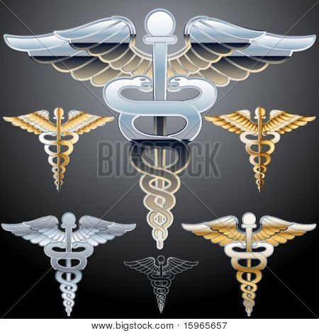 Abstract medical symbol. Chrome style