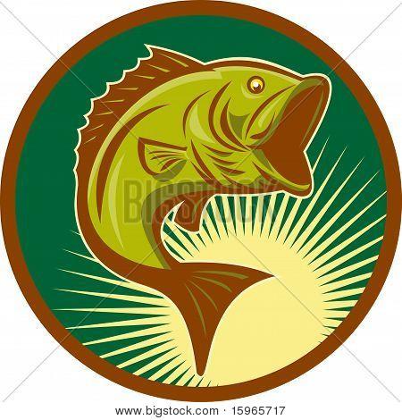 largemouth bass fish jumping