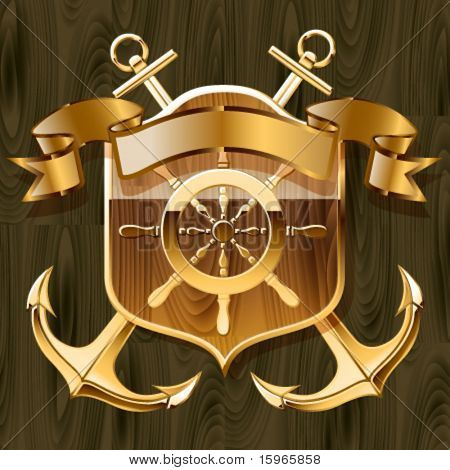 Vector illustration of luxurious yacht club emblem