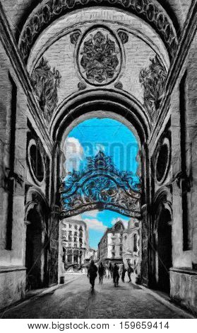 Gate and entrance to Hofburg palace on black and white background. Vienna Austria. Oil painting effect.