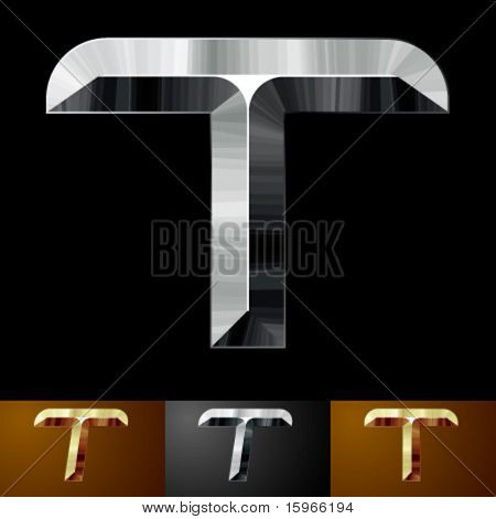 Metal chopped letters. Character t