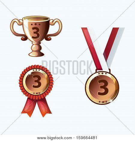 Set bronze medals and awards trophy in vector