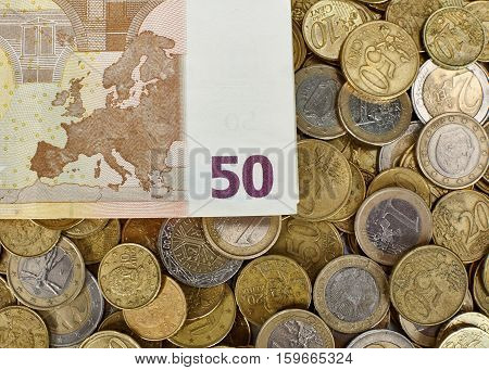 Background of Euro coins money and Euro banknotes.