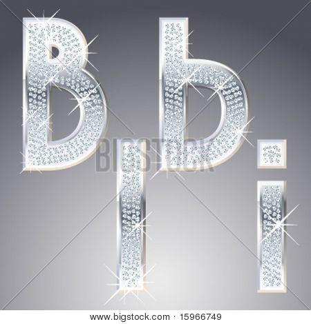 Platinum symbols inlaid of diamond crumbs