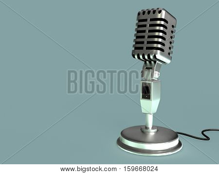 retro microphone on stand 3D stock photo