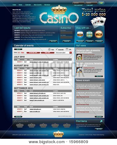 Professional web layout for casino site. Pixels aligned, layered.
