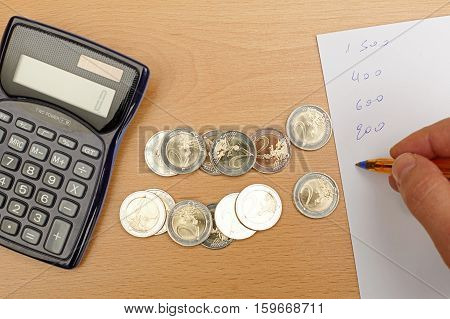 Hand writting notes calculator and money on wooden table.