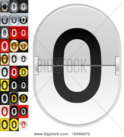 Set of 30 characters on a mechanical flipping timetable