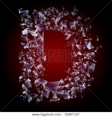Alphabetic characters of broken glass. Sensitive to the background. Character d