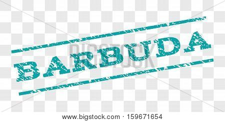 Barbuda watermark stamp. Text caption between parallel lines with grunge design style. Rubber seal stamp with dust texture. Vector cyan color ink imprint on a chess transparent background.