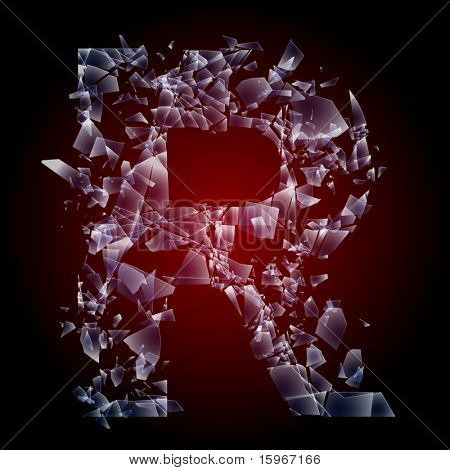 Alphabetic characters of broken glass. Sensitive to the background. Character  r