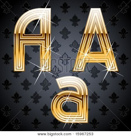 Shiny golden alphabet on a chic victorian background. Character a