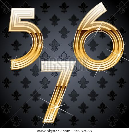 Shiny golden alphabet on a chic victorian background. Characters 5 6 7