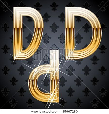 Shiny golden alphabet on a chic victorian background. Character d