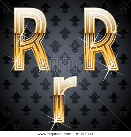 Shiny golden alphabet on a chic victorian background.  Character r