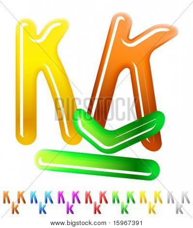 Multicolor children's candy alphabet. Character k