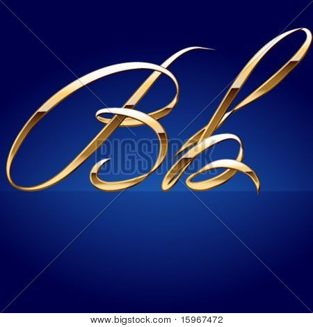 Old styled decorative characters of pure gold. Character b