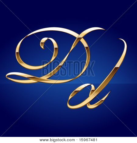 Old styled decorative characters of pure gold. Character d