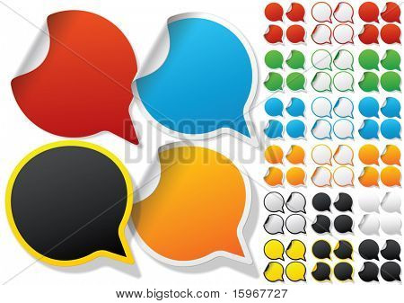Alphabet set of symbols in the form of stickers on matte paper. Character q