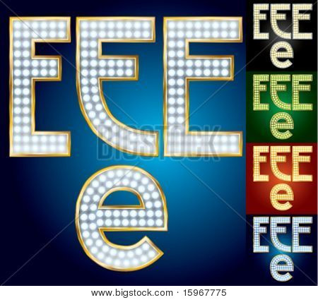 Premium set of advanced lamp alphabet. Character e