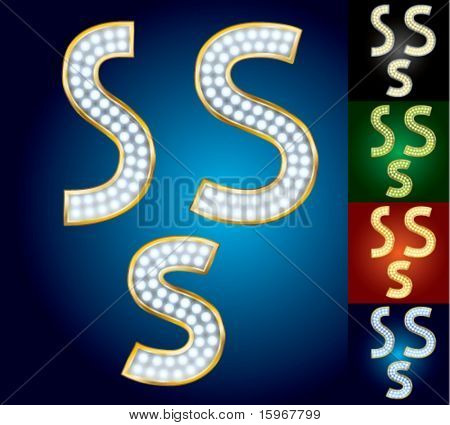 Premium set of advanced lamp alphabet. Character s