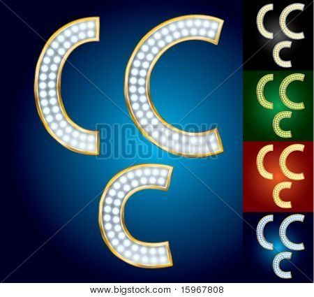 Premium set of advanced lamp alphabet. Character c