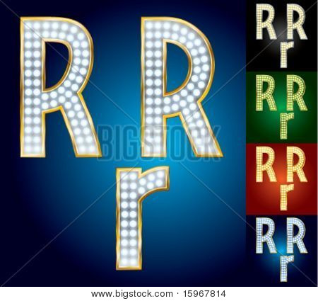 Premium set of advanced lamp alphabet. Character r