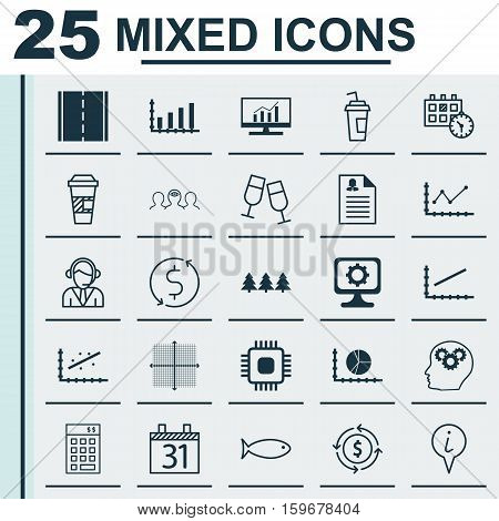 Set Of 25 Universal Editable Icons. Can Be Used For Web, Mobile And App Design. Includes Elements Such As Female Application, Analytics, Dynamics And More.