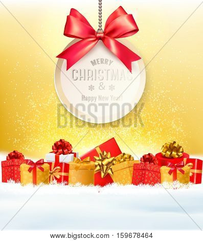 Christmas presents with a gift card and a ribbon. Vector.