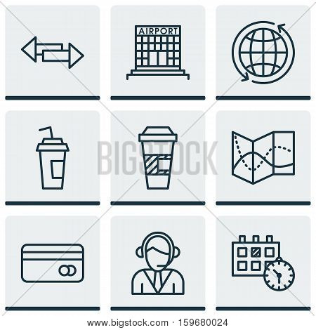 Set Of 9 Travel Icons. Can Be Used For Web, Mobile, UI And Infographic Design. Includes Elements Such As Date, Operator, Direction And More.
