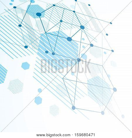 Bauhaus art dimensional composition perspective blue modular vector backdrop with honeycombs. Retro style pattern graphic backdrop for use as booklet cover template.