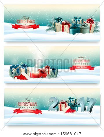 Three Christmas banners with presents and magic box. Vector.