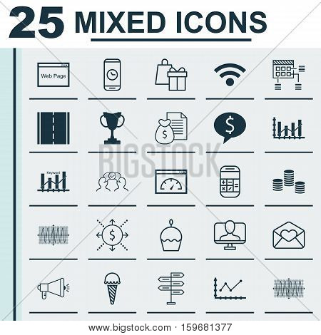 Set Of 25 Universal Editable Icons. Can Be Used For Web, Mobile And App Design. Includes Elements Such As Online Identity, Tournament, Media Campaign And More.
