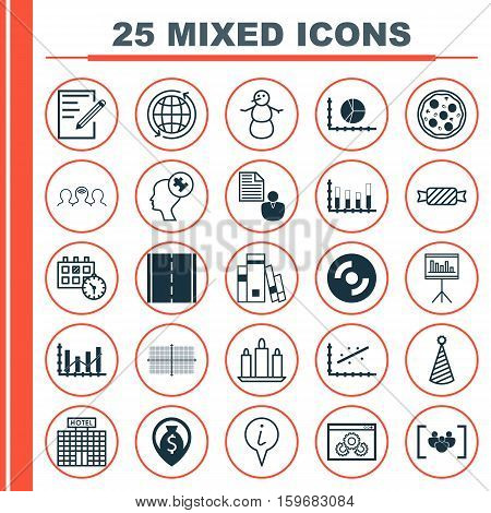Set Of 25 Universal Editable Icons. Can Be Used For Web, Mobile And App Design. Includes Elements Such As Segmented Bar Graph, Info Pointer, Appointment And More.